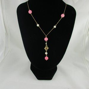 14K Yellow Gold Pearl & Pink Bead Necklace